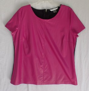 Peter Nygard Leather Casual Office Top Hot Pink and Black