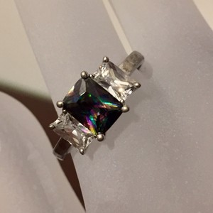 Three Stone Cubic Zirconia Color Changing Alexandrite Sterling Ring