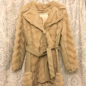 Beige real fur coat with leather and belt Fur Coat