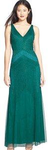 Adrianna Papell Sleeveless Beaded V-neck Gown Dress