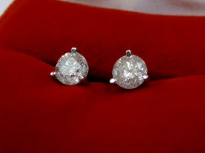 1.50 CT Round Diamond Solitaire Stud Earrings 18k White Gold