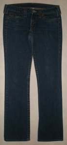 True Religion 5 Pocket Style Zip Fly Back Flap Pockets Cotton/Spandex Straight Leg Jeans-Medium Wash