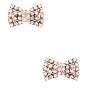 Kate Spade Sparkling Bow Stud Crystal Rose Gold Tone Earrings-NEW