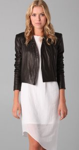 Helmut Lang Leather Asymmetrical Collarless Zipper Leather Jacket