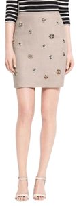 Ann Taylor Embelished Linen Mini Skirt Khaki