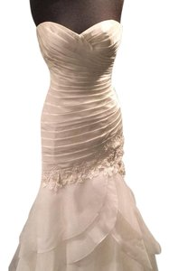 Paloma Blanca Natural Italian Taffeta Organza and Guipure Lace 4464 Modern Wedding Dress Size 10 (M)