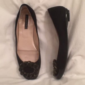 Claudia Ciuti Suede Leather Patent Leather Slip Ons Black Flats