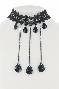 Other Black Teardrops Lace Choker Necklace