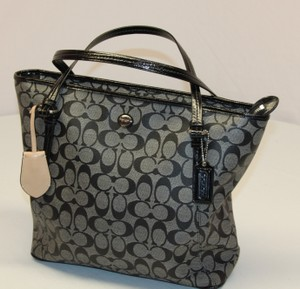 Coach Petyon Tote in Black and Charcoal