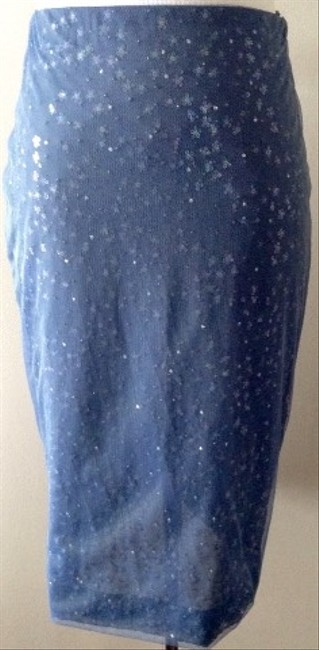 Halston Vintage Sequined Pencil Skirt Blue