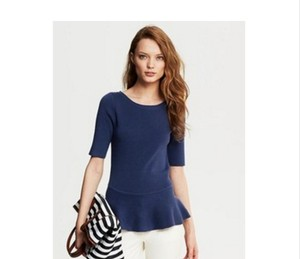 Banana Republic Peplum Ribbed Flattering Blue Figure Flattering Sweater
