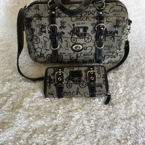 Coach Satchel in Black & Gray