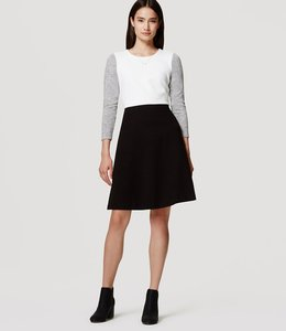 Ann Taylor LOFT Fit And Flare Colorblock Feminine Ladylike Sweater Dress