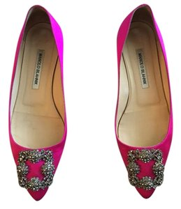 Manolo Blahnik Satin Leather Magenta Flats