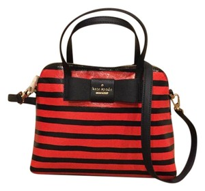 Kate Spade Striped Satchel in Cherry Red/Navy