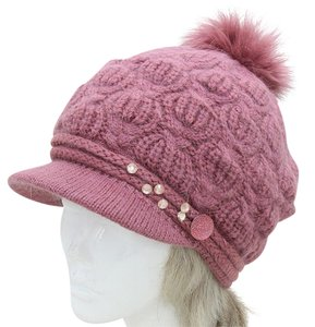 Chic Studded Accent Rabbit Fur Pom Pom Winter Hat