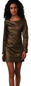 Geren Ford Leather Metallic Leather Dress