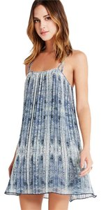 BCBGeneration short dress Multi shades of blue Pleated A-line Paisley on Tradesy