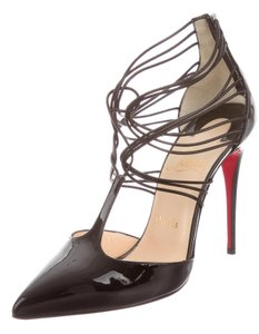 Christian Louboutin Pointed Toe Ankle Strap Black Pumps