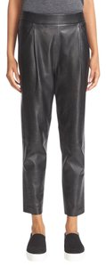 Vince Leather Leather Edgy Capri/Cropped Pants Black