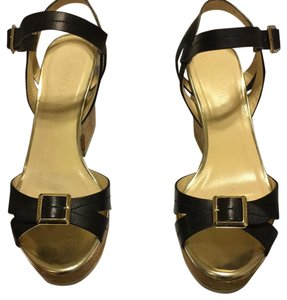 Jimmy Choo Black Vacchetta/ Mirror Wedges