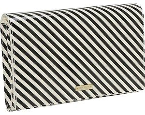 Kate Spade Black and Cream Stripe Clutch