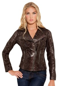 Guess Embossed Leather Phyton Animal Print Snake Print Biker Motorcycle Jacket