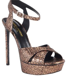 Saint Laurent Holiday Leather Italian brown, crushed gold, pewter, Platforms