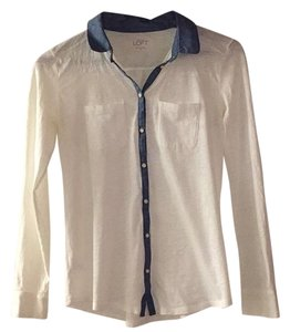 Ann Taylor LOFT Button Down Shirt White and blue chambray