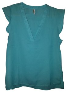 Truth NYC V-neck Ruffle Sleeveless Top Teal