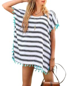Other New Bikini Cover up w/ black and white Striped Chiffon w/ blue Tassels can also be worn like a shirt Dress. ONE SIZE