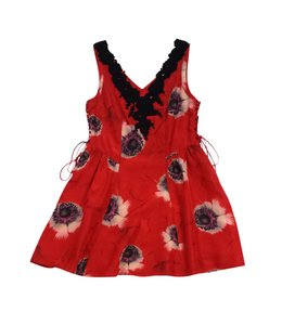 Leifsdottir short dress Red & Black Floral Silk Skater on Tradesy