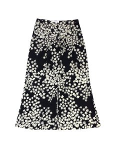 Carolina Herrera Black Beige Floral Silk Pants