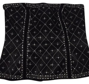 White House | Black Market Top Black embroided with rhinestones