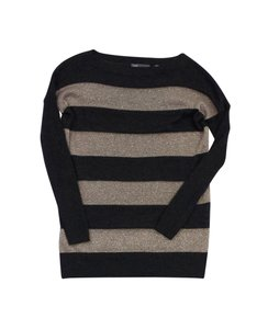 Vince Grey & Metallic Beige Striped Sweater