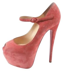 Christian Louboutin Platforms Heels Sexy Pink Suede Pumps