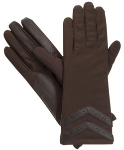 Isotoner Brown Laced Chevron Stretch smarTouch Thinsulate Gloves S XS