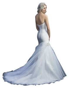 Casablanca White/White/Silver Sequined Tulle Non-beaded Lace 2216 Formal Wedding Dress Size 16 (XL, Plus 0x)