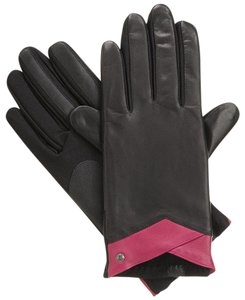 Isotoner Black Wildberry Leather Stretch smarTouch Lined Gloves M L
