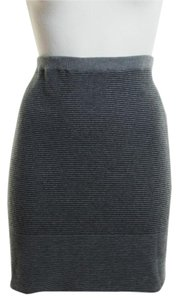 Eileen Fisher Striped Knit Pull-on Mini Skirt Black Gray