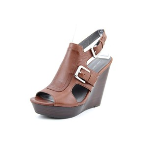 Calvin Klein Leather Wedge Free Shipping Brown Sandals