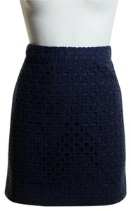J.Crew Woven Eyelet Mini Skirt Blue