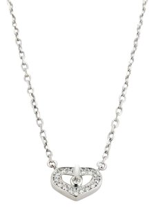 Cartier Cartier Diamond Double C 18k White Gold Open Heart Pendant Necklace