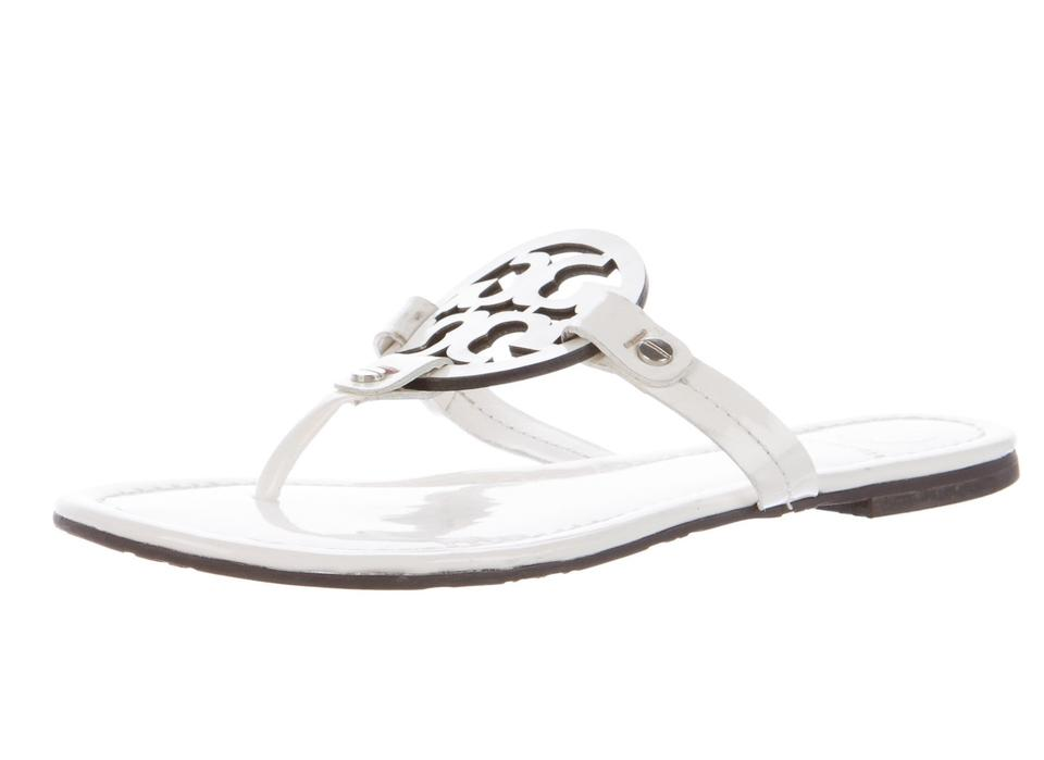 Tory Burch M White Gold Leather Miller M Burch Sandals 9ae302
