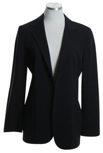 Max Mara Woven Wool Long Sleeve Black Blazer