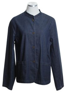 Eileen Fisher Woven Long Sleeve Snap Button Womens Jean Jacket