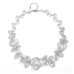 Mariell Silver Rose Garden with Cubic Zirconia and Pearl Flowers 4055n Necklace