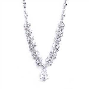 Mariell Red Carpet Inspired Cubic Zirconia Pear Drop Wedding Necklace 4074n