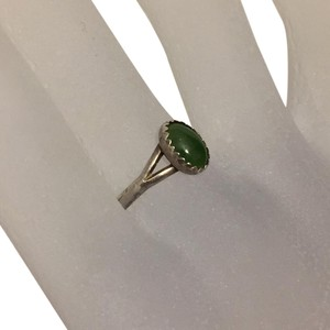 Other Jade Bezel Set Cabochon Sterling Silver Lucky Ring