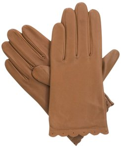 Isotoner Brown Perforated Scalloped Cuff Leather smarTouch Lined Gloves 8